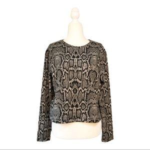H&M Cropped Snake Print Sweatshirt